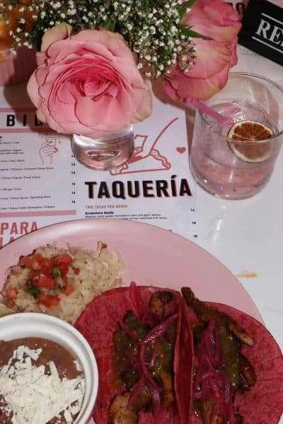 taquero mucho Austin Texas brunch menu food drinks with pink torillas